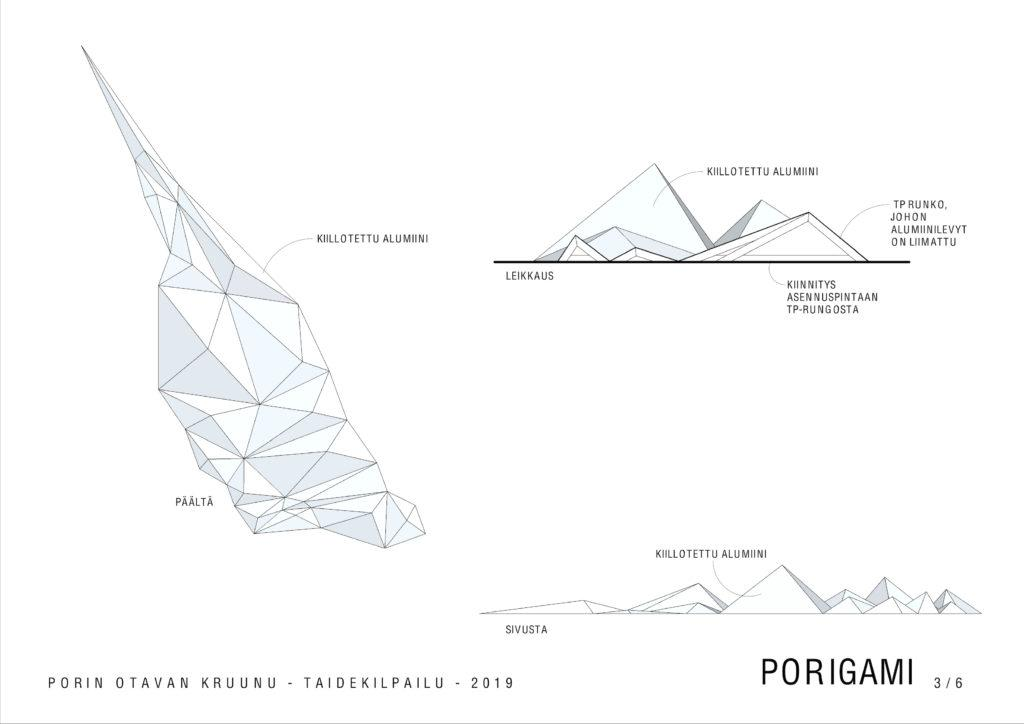 Havainnekuva Porigami-teoksesta. Kuvakulmat päältä, sivusta ja läpileikkaus.